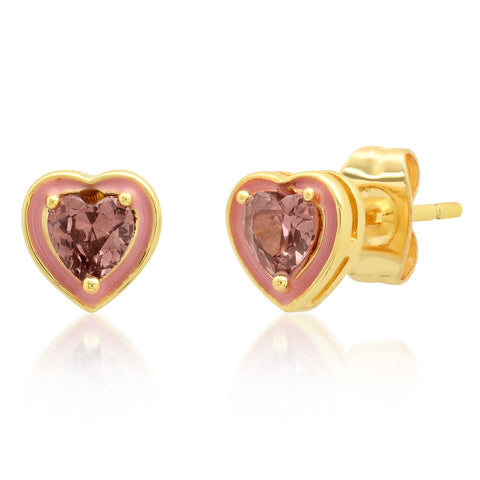 Heart-shaped Enamel and CZ Studs