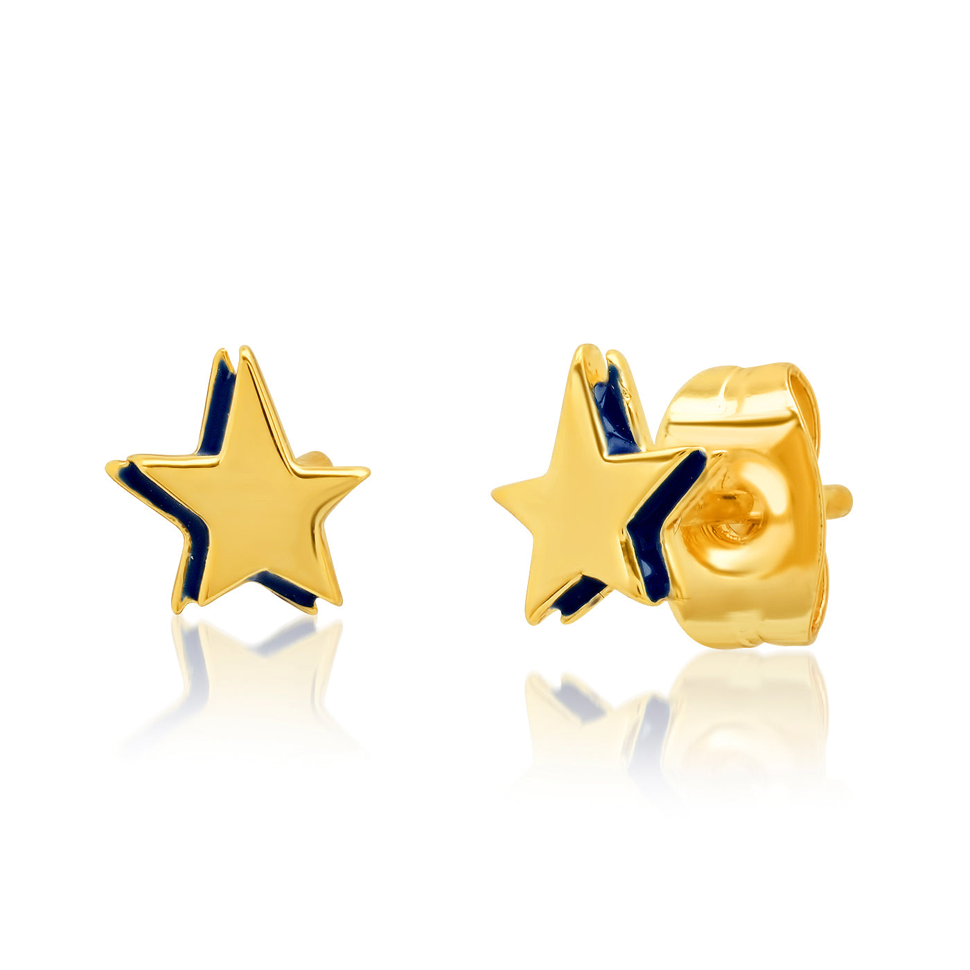 Navy and Gold Star Studs