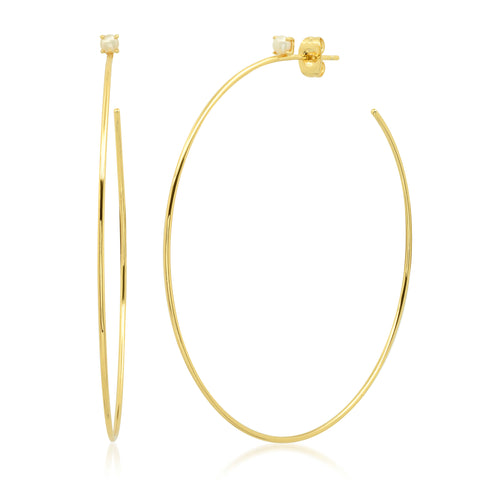 Large Gold Hoop with Pearl Stud