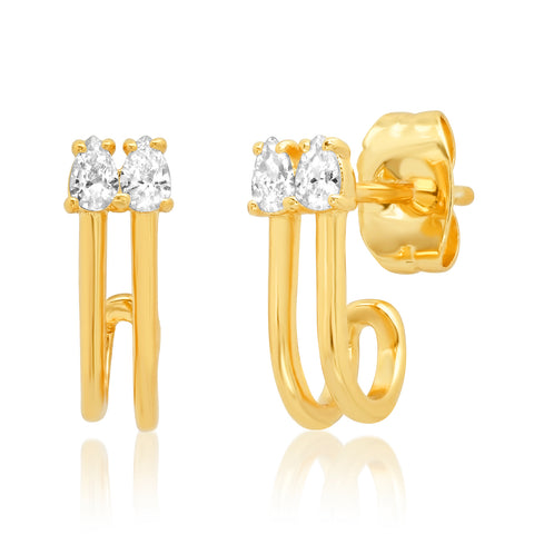 Double Stone Cage Earring