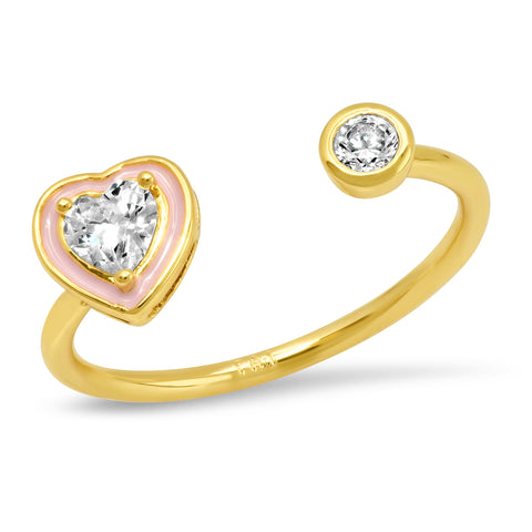 Open Heart Ring with CZ Accents