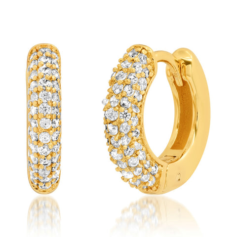 Pave CZ Thick Gold Huggies