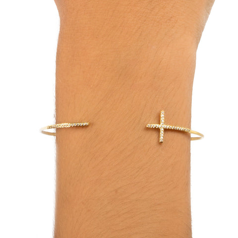 PAVE CROSS OPEN CUFF BRACELET