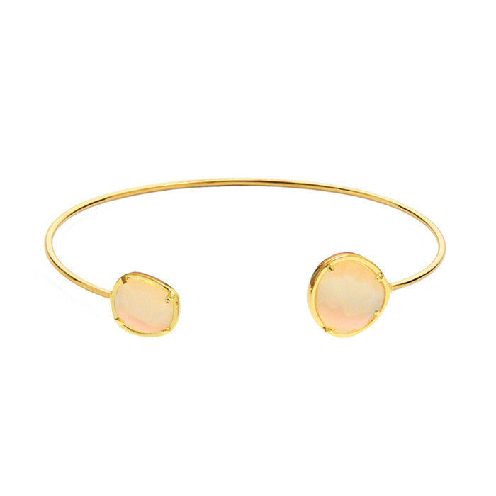 ASYMMETRICAL CIRCLE STONE OPEN BRACELET