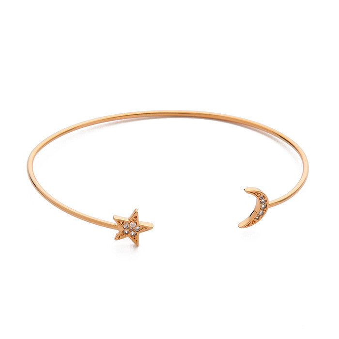 MOON AND STAR OPEN BRACELET