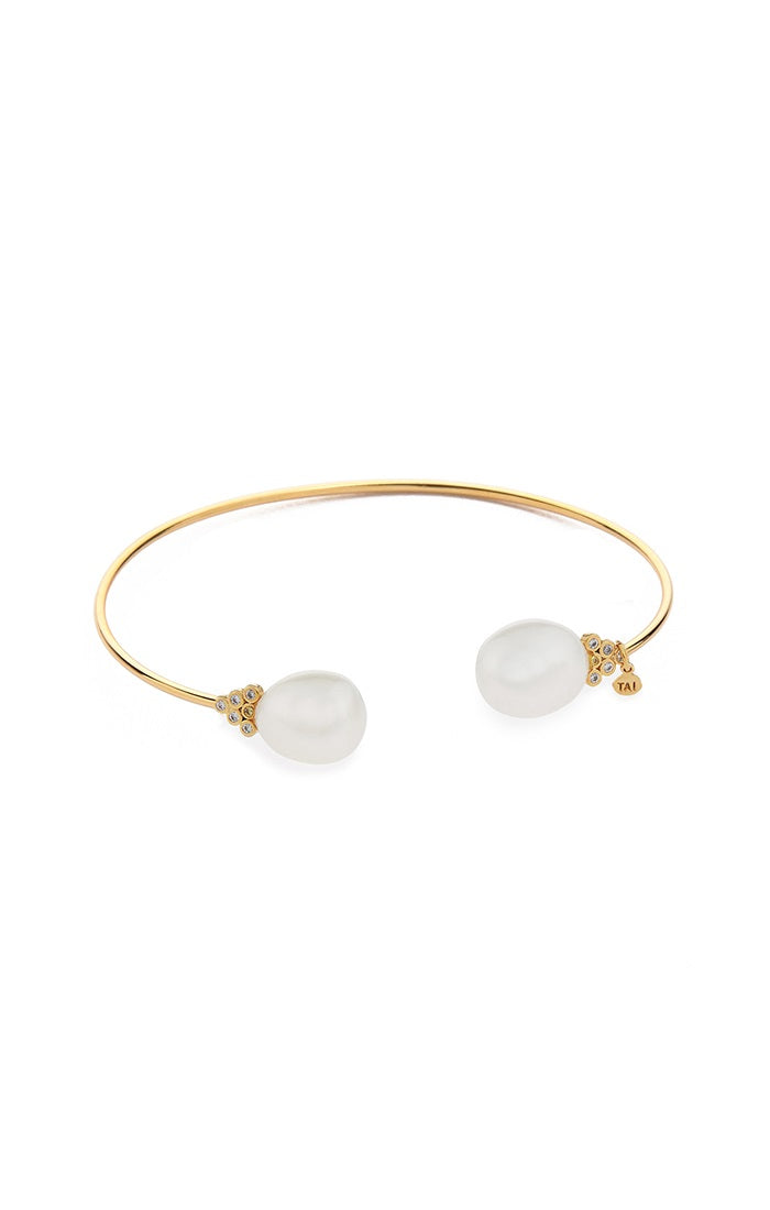 Pearl and CZ Open Cuff