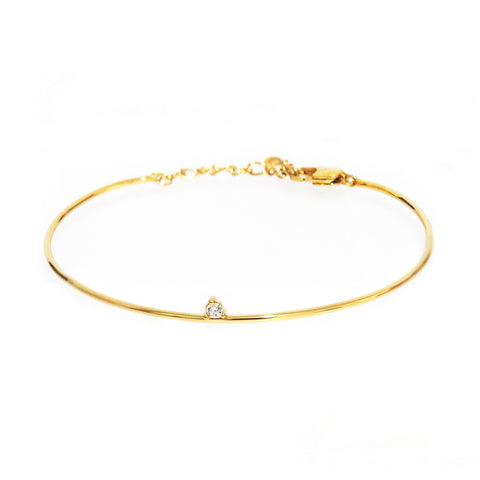 Single Tiny Stone Bangle Bracelet with Chain Closure