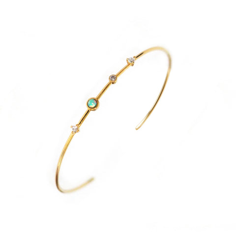 Opal and CZ Open Cuff