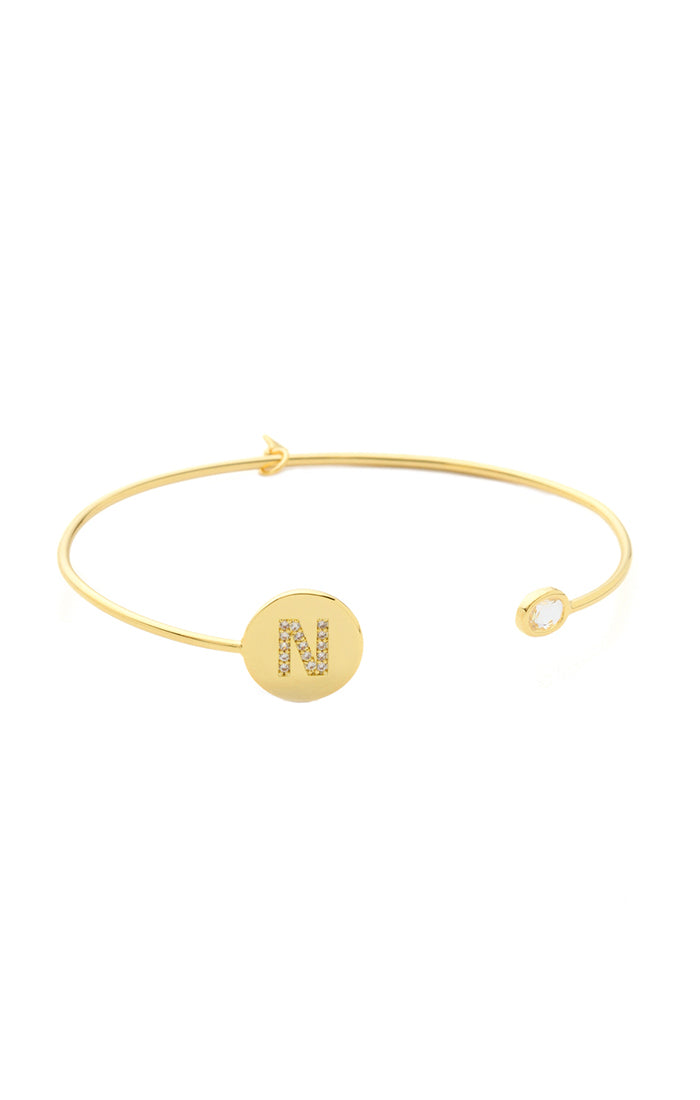 Gold Monogram Open Cuff with CZ Accents
