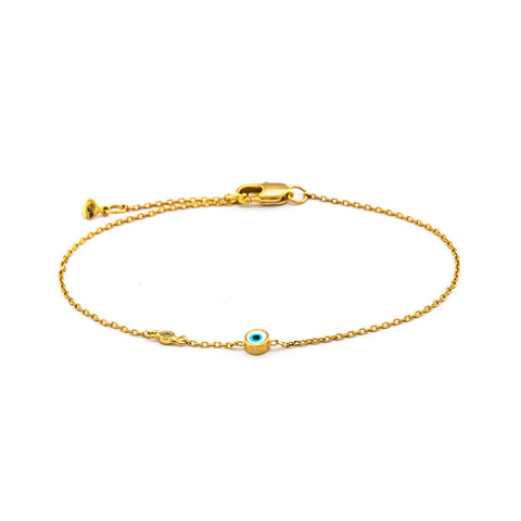 SINGLE GOLD CHAIN BRACELET WITH CZ AND ROUND ENAMEL EYE