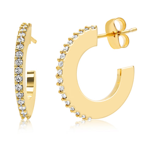 Gold Open Hoops with Pave Accents