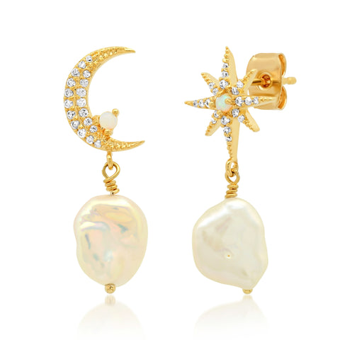Moon and Star Pearl Drop Earrings