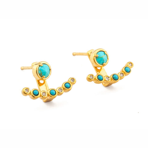 Tai Jewelry Textured Circle Turquoise and CZ Stud Earrings Turquoise 828vP0p7w