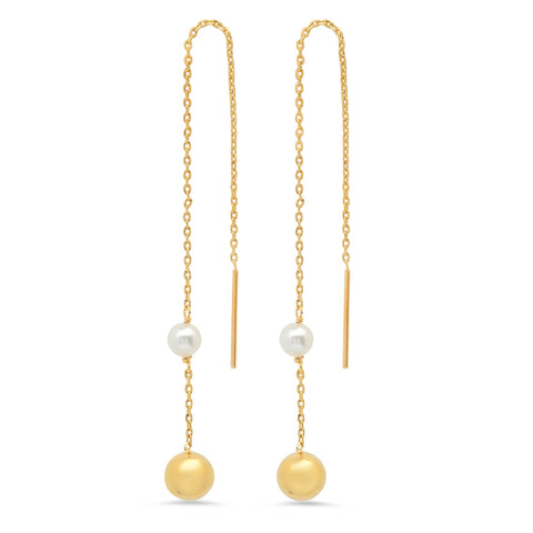 Freshwater Pearl and Gold Ball Threader