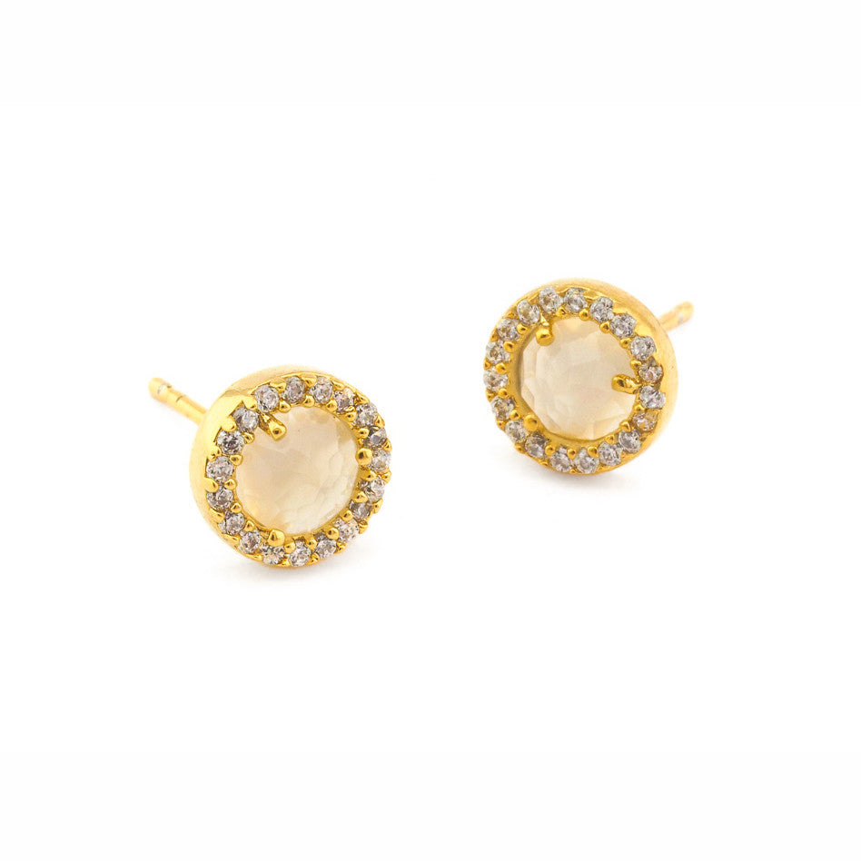 SMALL PAVE GLASS EARRINGS