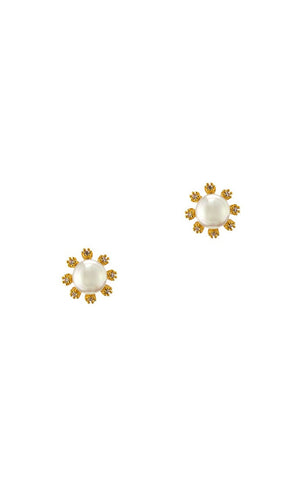 Freshwater Pearl Stud With Gold and CZ Flower Detail