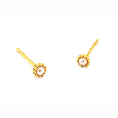 MINI GOLD TRIM POST EARRING