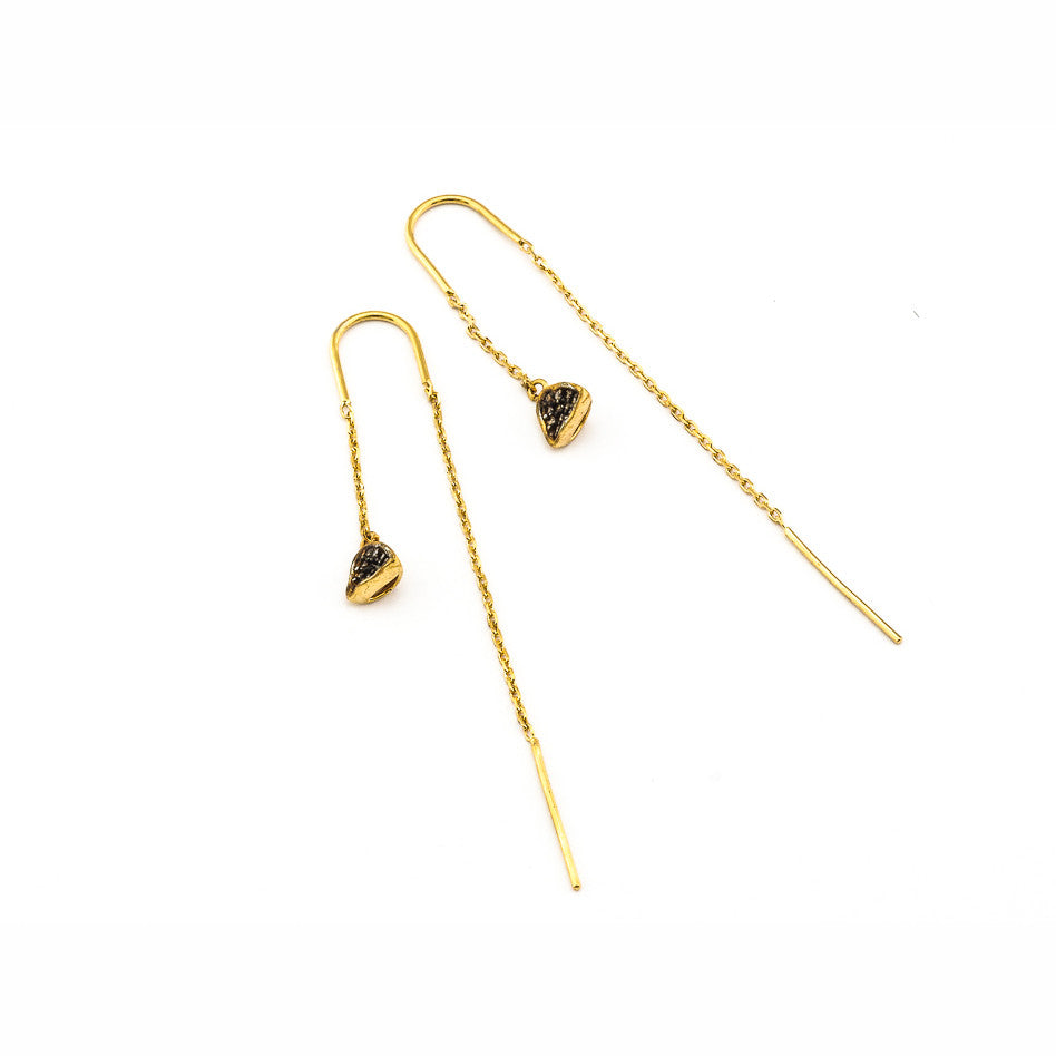 TRIANGULAR SHAPED DROP THREADER EARRINGS