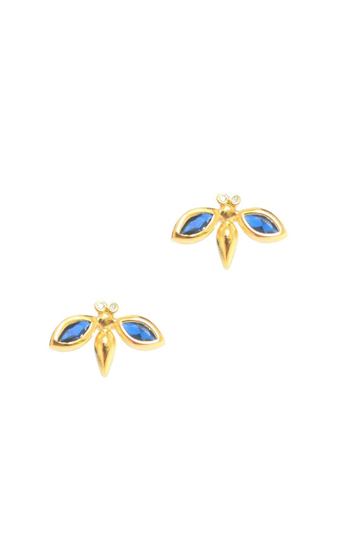 Simple Gold Bee Studs Accented with Montana Blue Stones