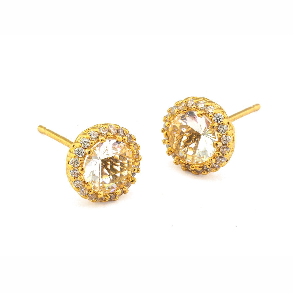 LARGE RHINESTONE POST EARRING