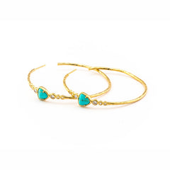 HAND HAMMERED GOLD HOOP EARRING