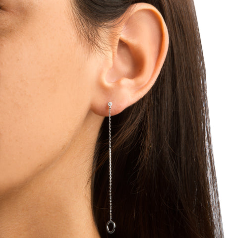 CHAIN THREADER EARRINGS WITH OPEN CIRCLES