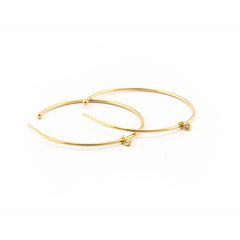 MEDIUM HOOP EARRING WITH CZ DROP