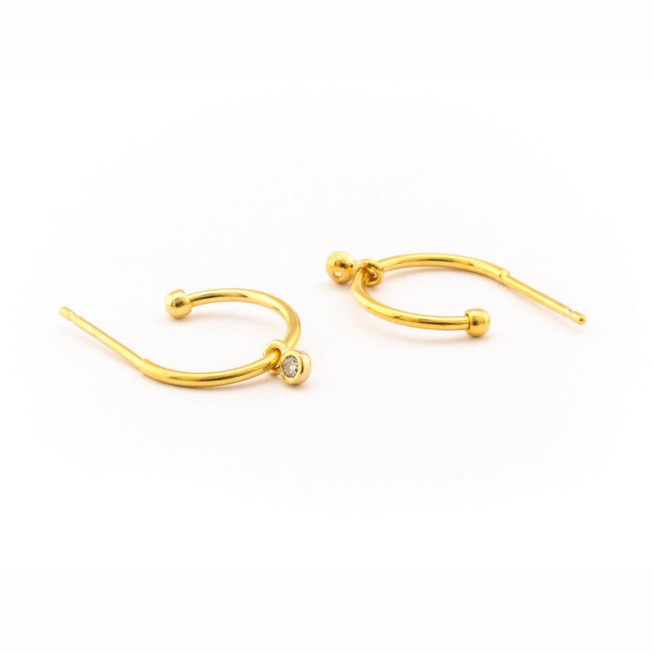 SMALL HOOK EARRING WITH CZ CHARM