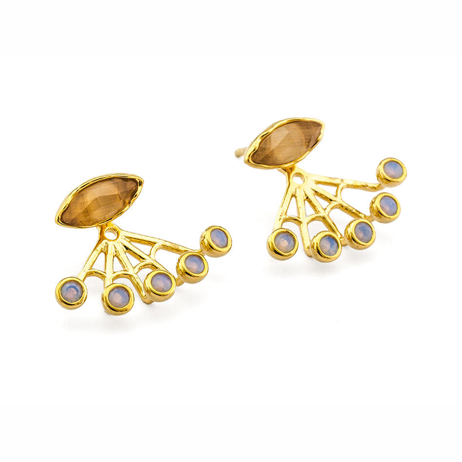 GOLD CAT'S EYE PEACH AND OPAL MULTI-STONE EAR JACKET