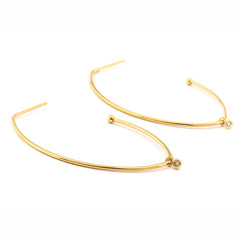 TEAR SHAPED HOOP EARRINGS WITH SMALL CZ CHARM