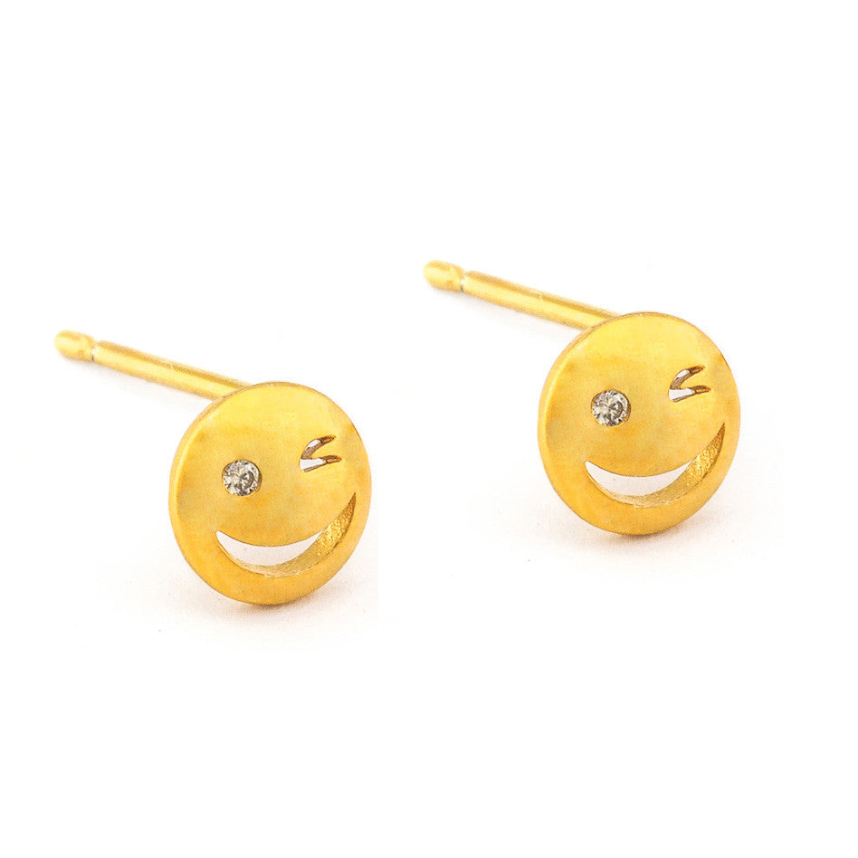 SIMPLE GOLD WINKY FACE POST STUD