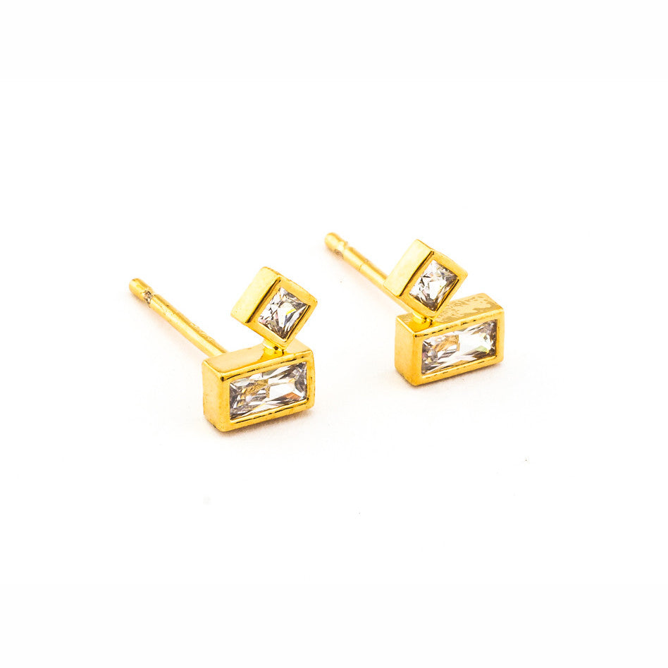 BAGUETTE AND CZ POST EARRINGS