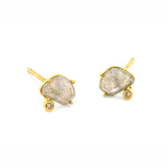 LABRADORITE AND CZ POST EARRING
