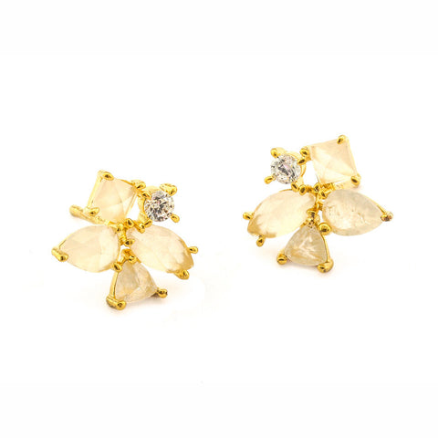 WHITE ROCK CRYSTAL FLOWER POST EARRING