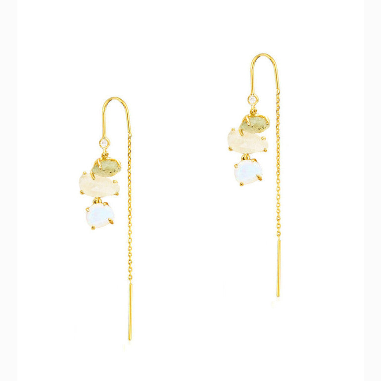 Tai Jewelry Three-Stone Threader Earrings