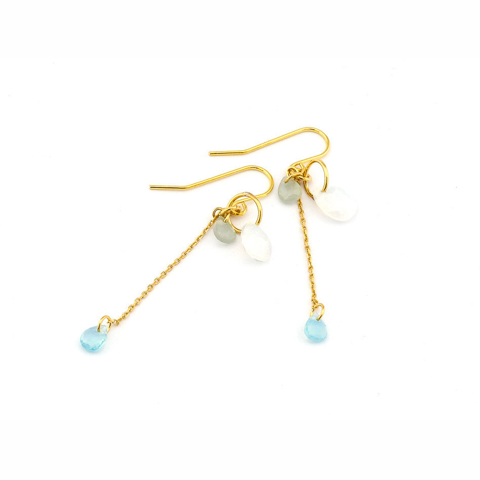 CHAIN DROP EARRING WITH GLASS STONES