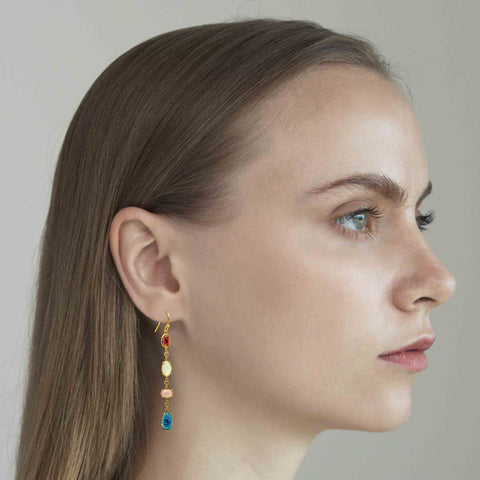 GOLD 4 STONE LINEAR DROP EARRING