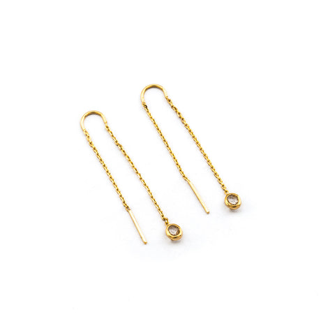 CHAIN THREADER EARRINGS WITH CIRCLE CHARM