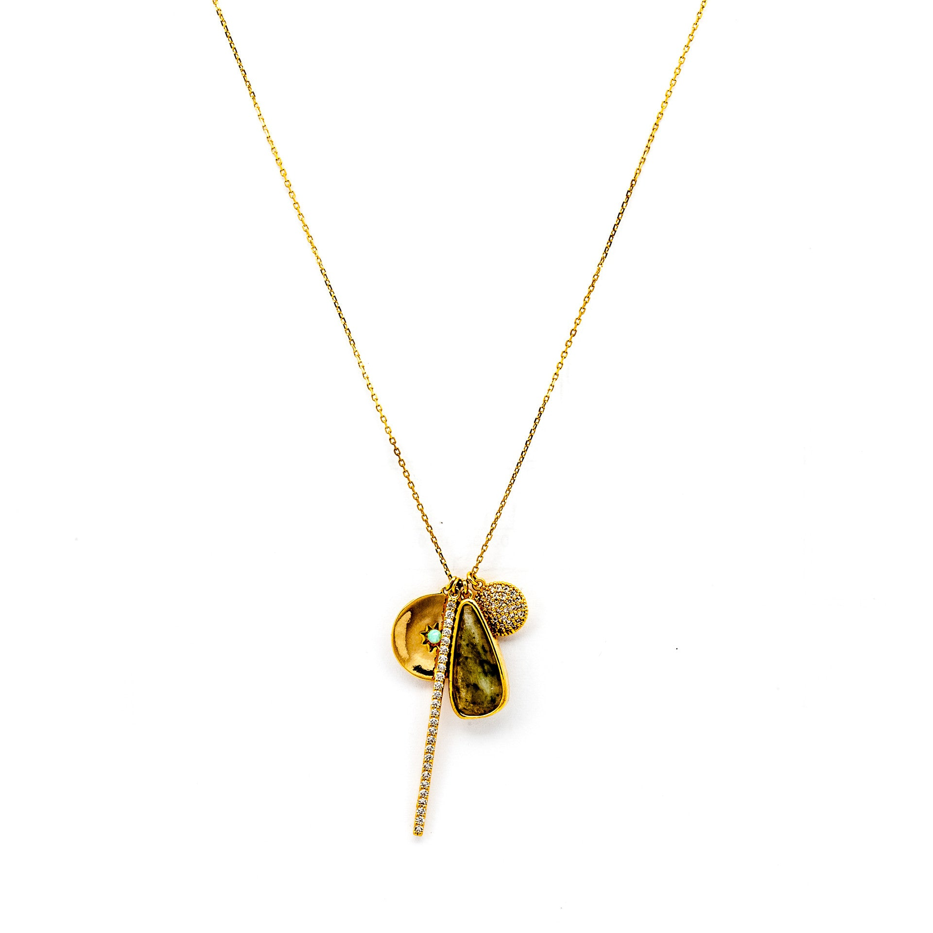 Tai Jewelry Gold Chain Necklace With Labradorite Gold KxcOH