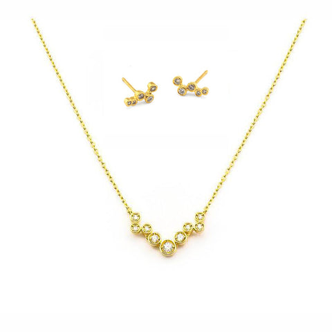 Combo Set: ITTY BITTY POST EARRING + CHAIN CLUSTER NECKLACE