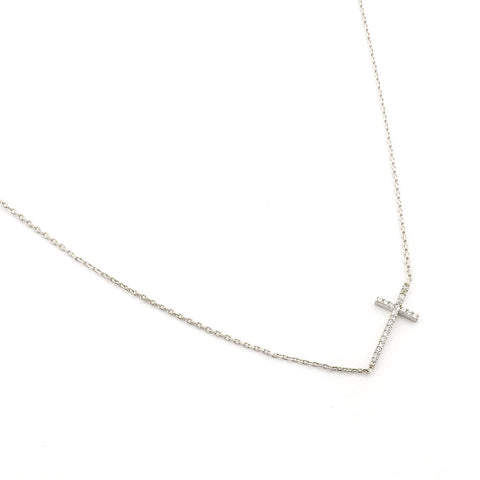 HORIZONTAL CROSS WITH PAVE CZ ACCENTS