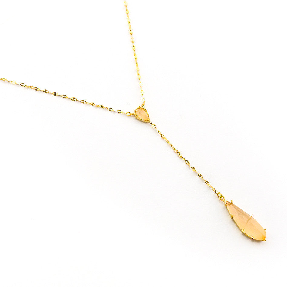 GOLD SHINY CHAIN NECKLACE WITH STONE DROP