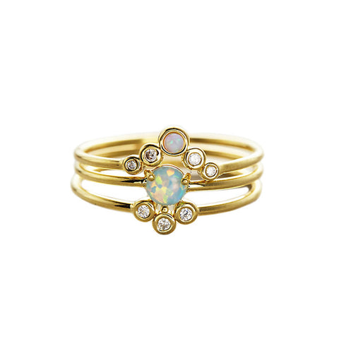 TRIPLE GOLD AND OPAL STACK RINGS