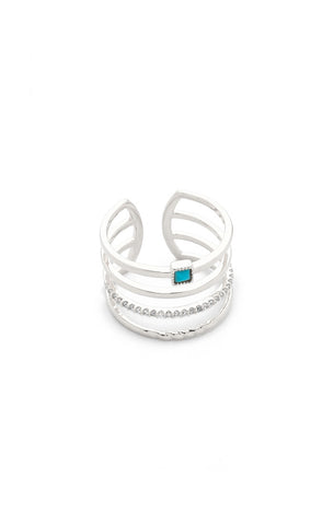 Adjustable Band Ring with Turquoise Accent