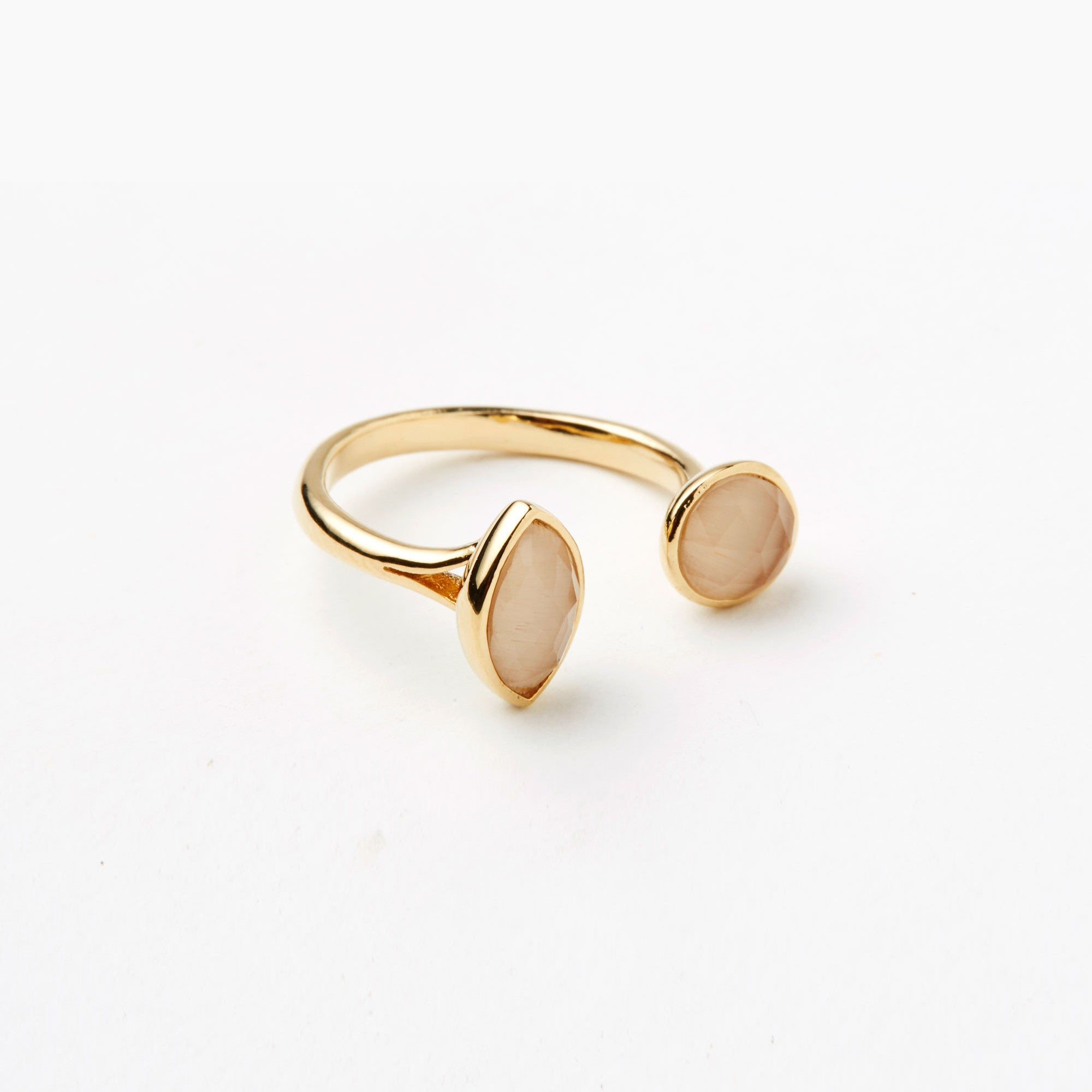 OPEN RING WITH CIRCLE AND TEARDROP