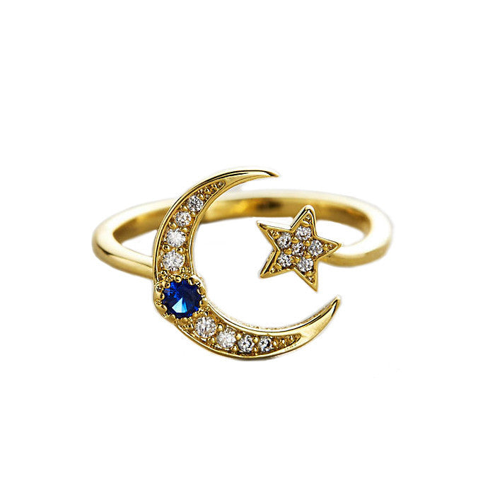 STAR AND MOON ADJUSTABLE RING WITH CZ AND MONTANA STONE