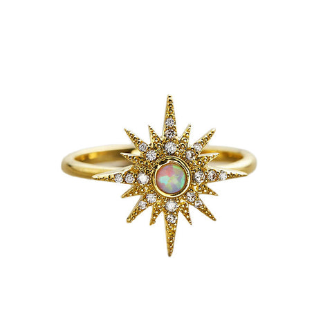 GOLD STARBURST RING WITH OPAL CENTER