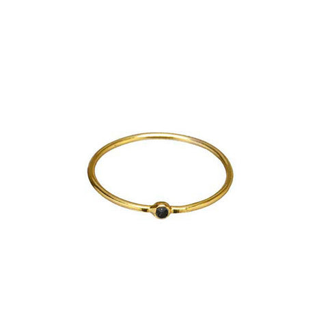 SIMPLE GOLD JET CZ RING
