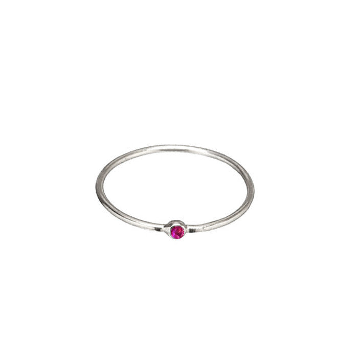 SIMPLE SILVER RUBY CZ RING