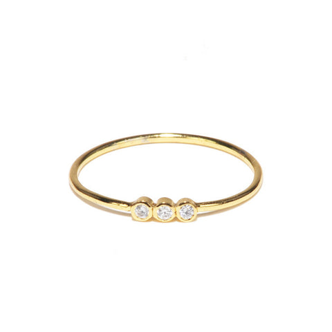 GOLD SIMPLE RING WITH 3 CLEAR CZ